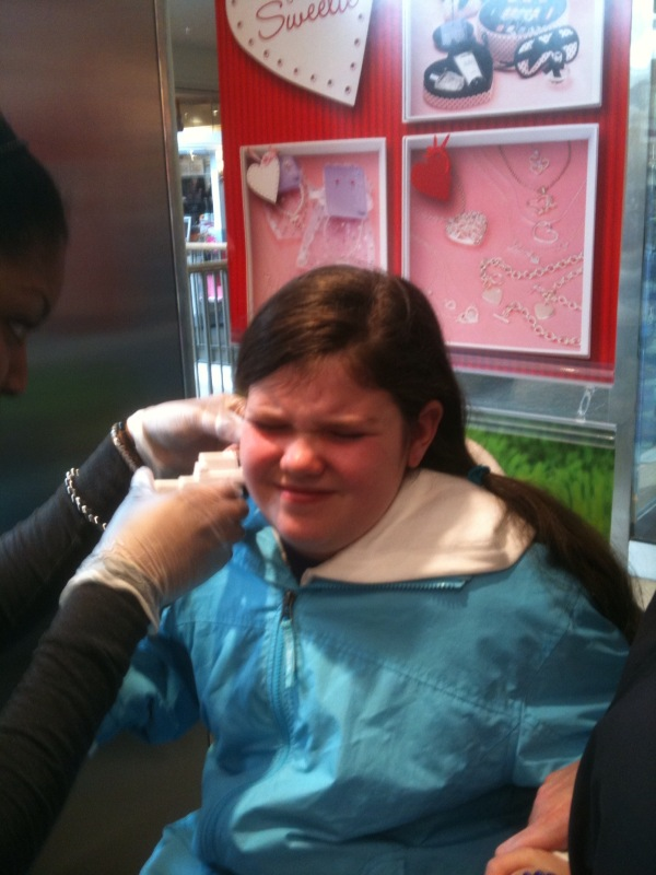 Lily getting her ears pierced